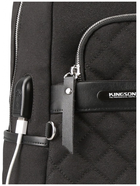 Kingsons Ivana Ladies Smart Laptop Backpack  Black with USB charge integration