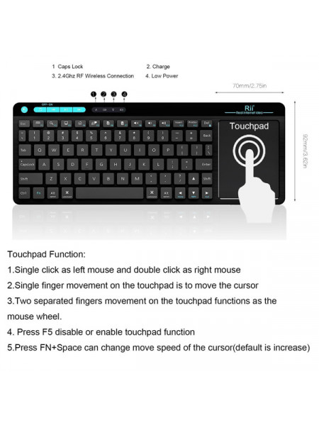 RII WIRELESS QWERTY MULTIMEDIA TOUCHPAD FULL KEYBOARD BLACK