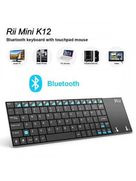 RII WIRELESS QWERTY SLIM MINI TOUCHPAD BLUETOOTH 4.0 FULL KEYBOARD BLACK