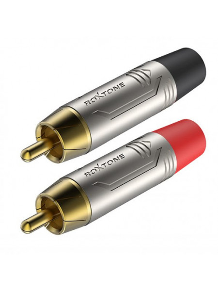 Roxtone RCA inline male connector Gold plated per pair