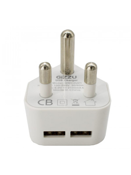 Gizzu 2 X USB 3-prong wall charger white