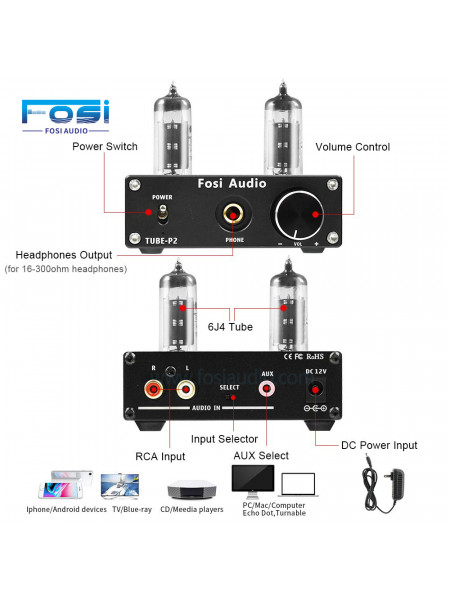Fosi Audio Vacuum Tube Mini Hi-Fi Stereo Headphone Amplifier