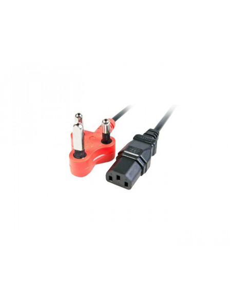 IEC female power lead with red shaved pin plug 1.8M