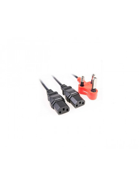 IEC dual head power lead with red shaved pin plug 1.8M + 1M