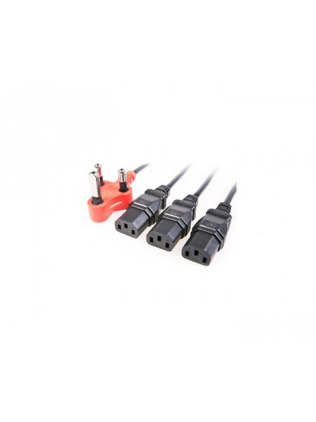 IEC triple head power lead with red shaved pin plug 1.8M + 1M + 1M