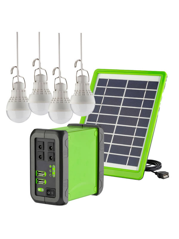Solar power kit with 4 LED lights 10 watt solar panel and Lithium-ion Battery