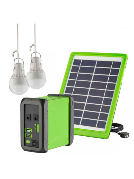 Solar power kit with 2 LED lights 5 watt solar panel and Lithium-ion Battery