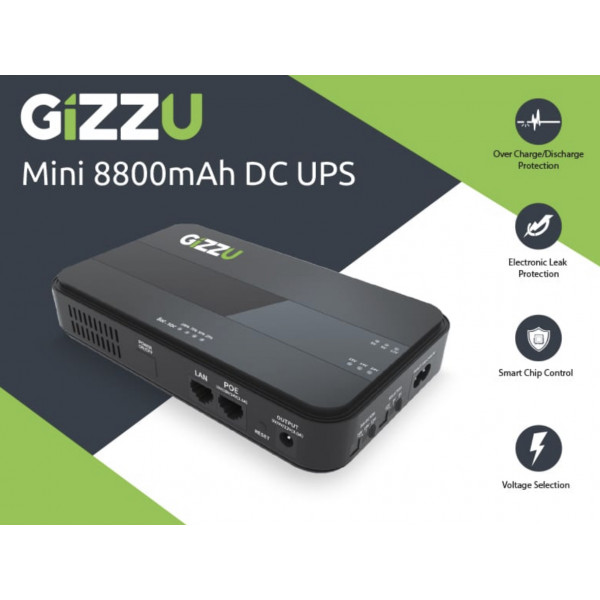 Gizzu Mini UPS 8800MAH for router with DC and POE output